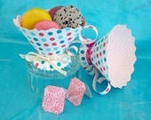 Teacup Party Favors, Polka Dot Tea Cups Pink Blue, Baby Shower, Birthday Bridal Tea/DIY Printable Matching Invite/Banner/Thank You/Umbrellas