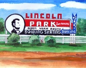 Lincoln Park's Road Sign Watercolor Art Print ( Dartmouth MA)