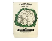 antique 1900s litho card seed co. snow ball cauliflower packet