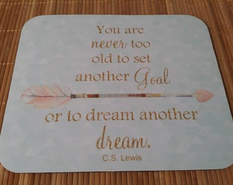 Mint and Coral Mouse Pad Tribal Arrow, Adventure, CS Lewis Quote, Gold Glitter, Triangles, Your Never Too Old to Dream Set a Goal, Be Brave