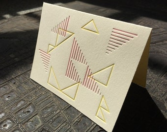 Modern Polygon III -- set of 6 letterpress note cards