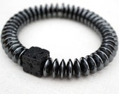 Strength and Power Lava Bracelet, Men Bracelet, Santorini Black Lava Stone Bracelet. Hematite Natural Stone Bracelet. Tribal