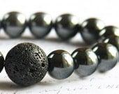 Strength and Power Lava Bracelet, Men Bracelet, Santorini Black Lava Stone Bracelet. Hematite Natural Stone Bracelet. Tribal