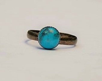 Handmade Turquoise Ring Blue Stone Ring Blue Gemstone Ring Turquoise Blue Ring