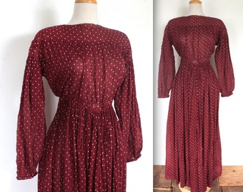 Antique Victorian Dress // 1800s Maroon and White Polka Dot Cotton Day Dress // Little Dorrit // DIVINE