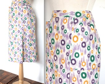 Vintage 1940's Skirt // 40s 50s Abstract Circle Print Cotton Skirt with Pockets // Technicolor Beauty