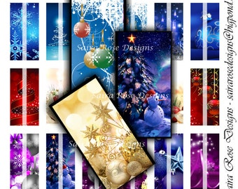 Digital Download Collage Sheet - 1x2 inch Rectangles - Christmas Themed Printable Images