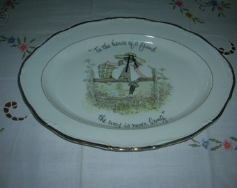 Vintage Holly Hobbie Porcelain China Oval Serving PLatter Circa 1973 To The House Of A Friend - Mint Condition