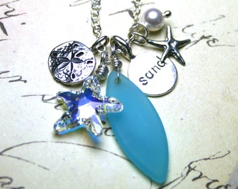 Surf and Sand Necklace - Swarovski Crystal Starfish, Sea Glass and All Sterling Silver Necklace in Crystal AB
