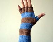 Striped Beige and Blue Fingerless Gloves - Half Finger Gloves - Striped Gloves - Fashion Gloves nO 109.