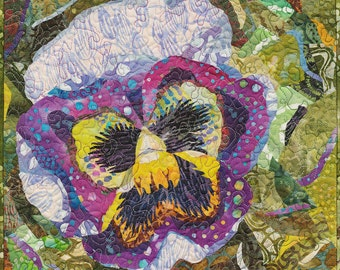 Art Quilt Miniature Quilt Pansy Quilt Flower Quilt Collage Quilt Wall Hanging Fiber Art Textile Art Wall Tapestry Ready To Hang Wall Art