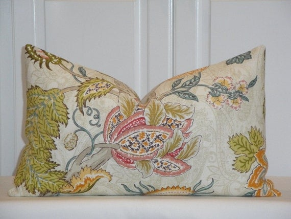 Jacobean Decorative Pillows : Decorative Pillow Cover Floral Jacobean Accent Pillow