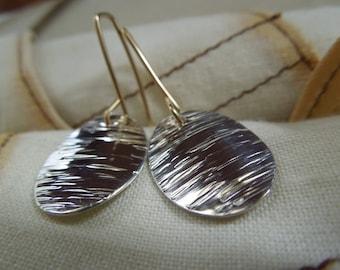 Silver Textured Oval Earrings-Sterling Silver, 14Kt. Gold Filled-High Tide Earrings