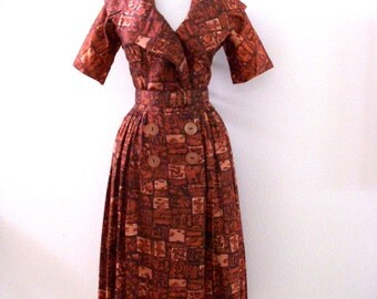 1950s Day Dress - Vintage 50s Brown Dress with Portrait Collar and Matching Belt - Double Breasted 50s Day Dress - Size Small to Medium