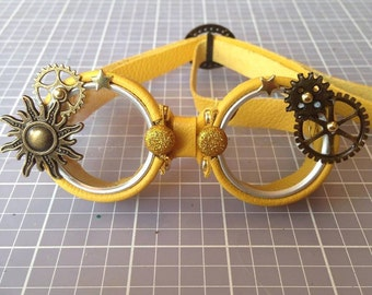 OOAK Blythe Yellow Steampunk Goggles by Kaleidoscope Kustoms - You Are My Sunshine