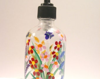 Hand Painted Glass Liquid Soap Lotion Dispenser Bottle Hand Pump Wild Flowers Pink Red Purple Yellow/Orange Blue Butterflies Gift