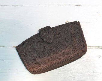vintage 1940s corde clutch -  CHOCOLATE OMBRE brown handbag