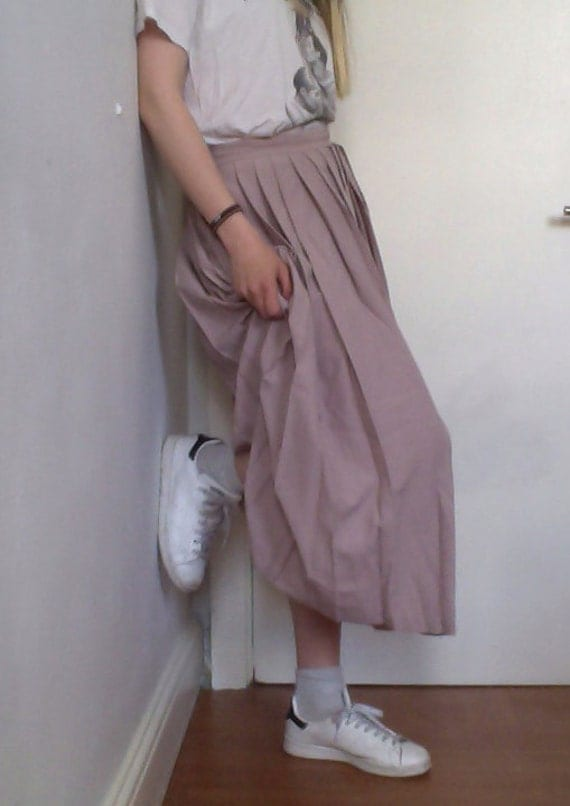 light pink pleated skirt by timnaaa on etsy