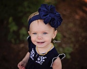 Navy Messy Bow Head Wrap - Pool Safe