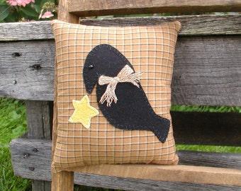 Primitive Black Crow Pillow