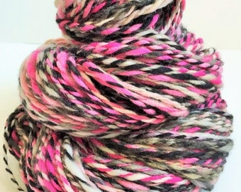 "Handspun Yarn -- ""Sunburnt Zebra"" -- superwash merino -- 150 yards bulky weight"