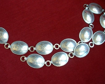 Vintage Concho Belt Silver Metal Linked Chain Belt with High Detail Etched