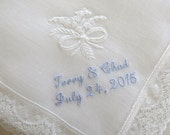 White Irish Linen Lace handkerchief with Lily of the Valley Bouquet, Bride and Groom's Names & Wedding Date