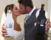 Mr & Mrs Bride and Groom Long Neck Bottle Holder Embroidered Long neck Bottle