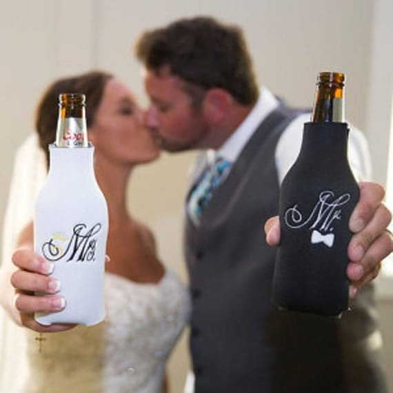 Mr & Mrs Bride and Groom Long Neck Bottle Holder  coozie cozy coozy Embroidered Long neck Bottle