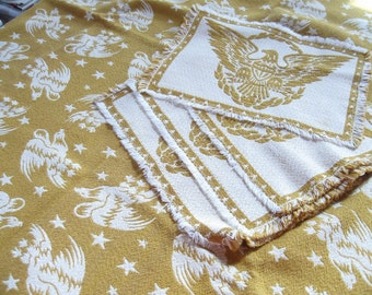Patriotic Vintage Tablecloth Placemats Reversible Woven Eagles Stars