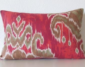 Marreskesh Ikat Slub Indian Summer red greeb ikat decorative pillow cover