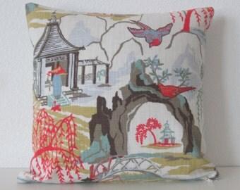 Neo Toile Coral asian toile colorful decorative pillow cover
