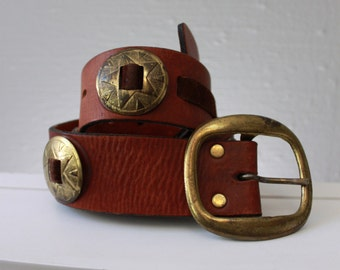 Vintage Western Leather belt Brass tone emblishments Brown belt j