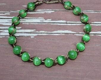 Egyptian Style  Cat's Eye Bracelet - Feng Shui Jewelry - Reiki - Chakra