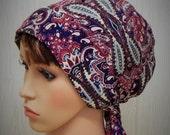 Womens head scarf, summer hair bonnet, Jewish tichel, chemo head wrap , cancer hair loss head scarf