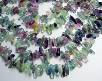 Fluorite gemstone - stick - point - full strand - PSC145