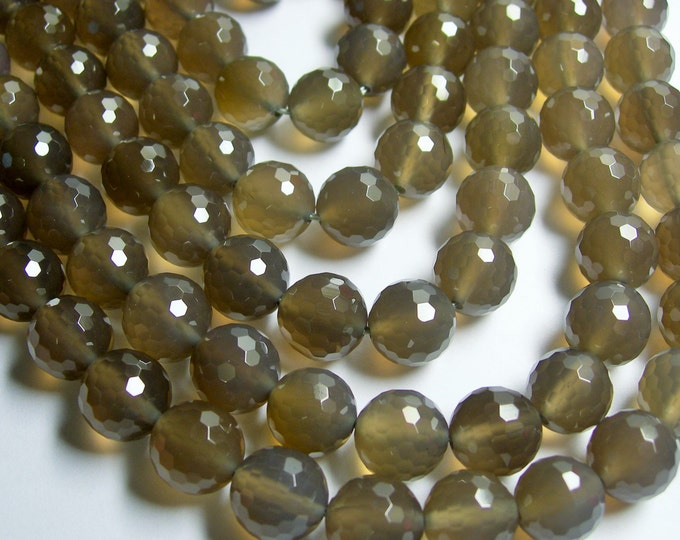 Grey Agate - 12mm faceted round beads - full strand - 33 beads - AA quality - RF400