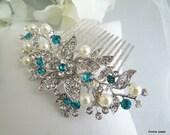 Blue Swarovski Crystal and Pearl Wedding Comb,Wedding Hair Accessories,Vintage Style Flower and Leaf Rhinestone Bridal Hair Comb,Pearl,KATY