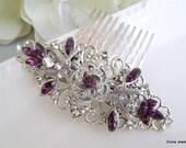 Bridal Rhinestone Hair Comb,Wedding Rhinestone Hair Comb,Rose Swarovski Hair Comb,Purple Swarovski Crystals,Purple Hair Comb,Rose,ROSELANI