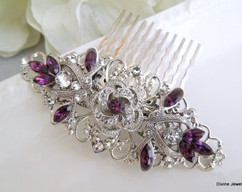 Bridal Rhinestone Hair Comb Wedding Rhinestone Hair Comb Swarovski Hair Comb vintage style swarovski hair comb Purple Hair Comb ROSELANI