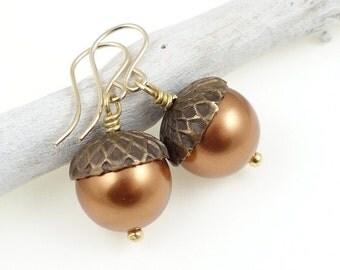 Acorn Jewelry Fall Earrings Brass, Gold Filled and Copper Pearl Earrings Harvest Thanksgiving Gift for Women Oak Acorn Earrings Dangle