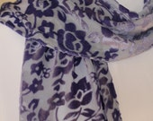 Purple Velvet and Silk Scarf with short fringe floral print