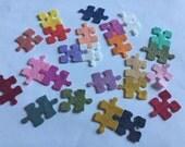 Wool Felt Puzzle Pieces -24 Piece Set of Random Colors 3044 - Felt for kids - Felt Supplies