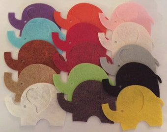 Wool Felt Elephants 15 Count - Random Colored 3037 - felt animals - felt for kids - baby show decor