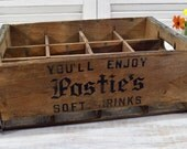Postie's Soft Drinks Crate - rustic wood storage and decor - Beverage Container