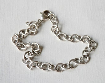 Sterling Rolo Bracelet, Industrial Modernist, Heavy Link Bracelet, 925, Vintage Jewelry