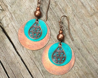 Copper and Turquoise Blue Patina Boho Earrings