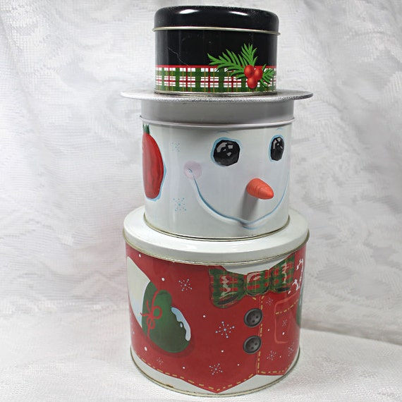 Three tier snowman tin christmas holiday decor three for Decorating tins for christmas