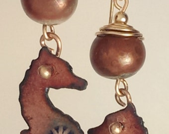 SALE! Seahorse Earrings - Enamel and Raku - russet