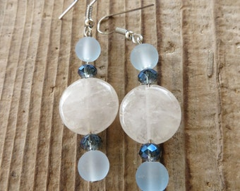 Clear Quartz and Blue Glass and Crystal Dangling Earrings